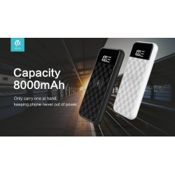 Power bank 8000 mAh Wireless con Display standard Qi Bianco