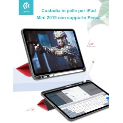 Custodia pelle per iPad Mini 2019 con supporto Pencil Blu