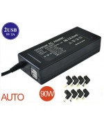 Universal laptop charger 15V-20V auto max 90W 2USB 8 tips