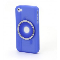 Blue camera silicon case for iphone 4/4s