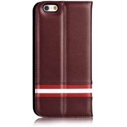 Cover a Libro in Pelle Italiana Bally iPhone 6/6S Plus Brown