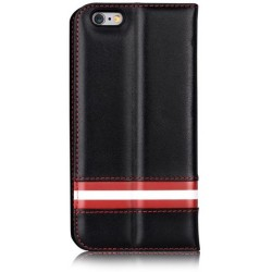 Cover a Libro in Pelle Italiana Bally iPhone 6/6S Plus Nera
