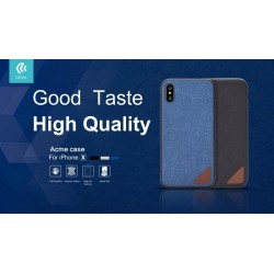 Cover in Pelle Lavorata Acme per iPhone X Blu