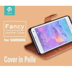 Custodia a Libro in Pelle Per Samsung Galaxy S6 Marrone