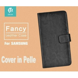 Cover a Libro in Vera Pelle Nera Fancy per Samsung Galaxy S7
