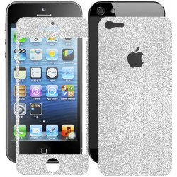 Skin Glitter fronte retro per Apple iPhone 5 Argento
