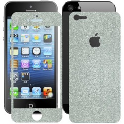 Skin Glitter fronte retro per apple iPhone 5 Argento scuro