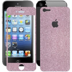 Skin Glitter fronte retro per Apple iPhone 5 colore Rosa