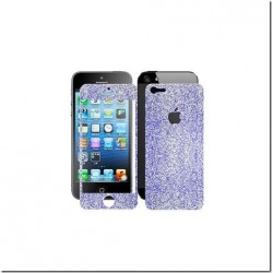 Skin Glitter fronte retro per Apple iPhone 5 Blu Argentato