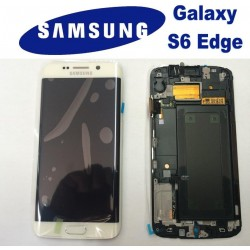 LCD + TOUCH ORIGINALE PER GALAXY S6 EDGE BIANCO GH97-17162B